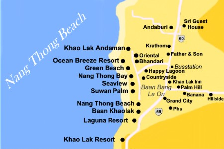 Nang Thong Beach Khao Lak - Khaolak Map